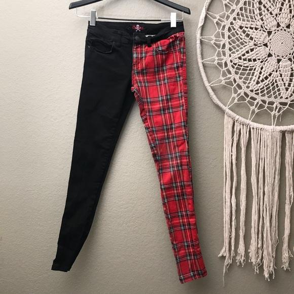 67d21304f24f ROYAL BONES Split Leg Black Red Plaid Skinny Pants.  M_5af249f92c705d871ed58feb
